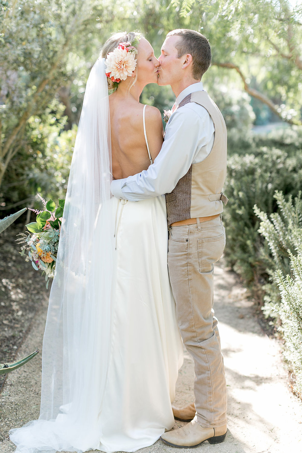 Desert bohemian wedding, cafe au lait hair flowers by Compass Floral | Estancia Hotel & Spa, La Jolla.