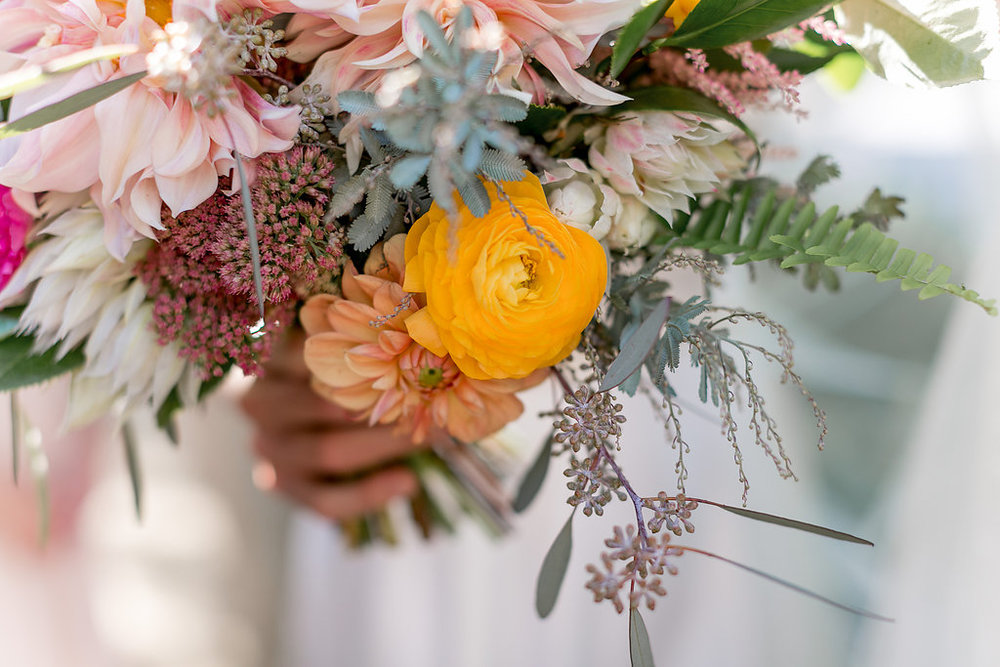 Cafe au lait dahlia, protea and ranunculus desert bohemian bridal bouquet by Compass Floral | Estancia Hotel & Spa, La Jolla.