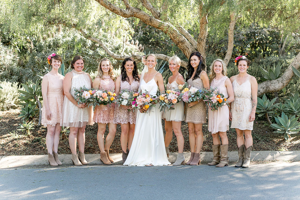 Desert bohemian bridesmaids, flowers by Compass Floral | Estancia Hotel & Spa, La Jolla.