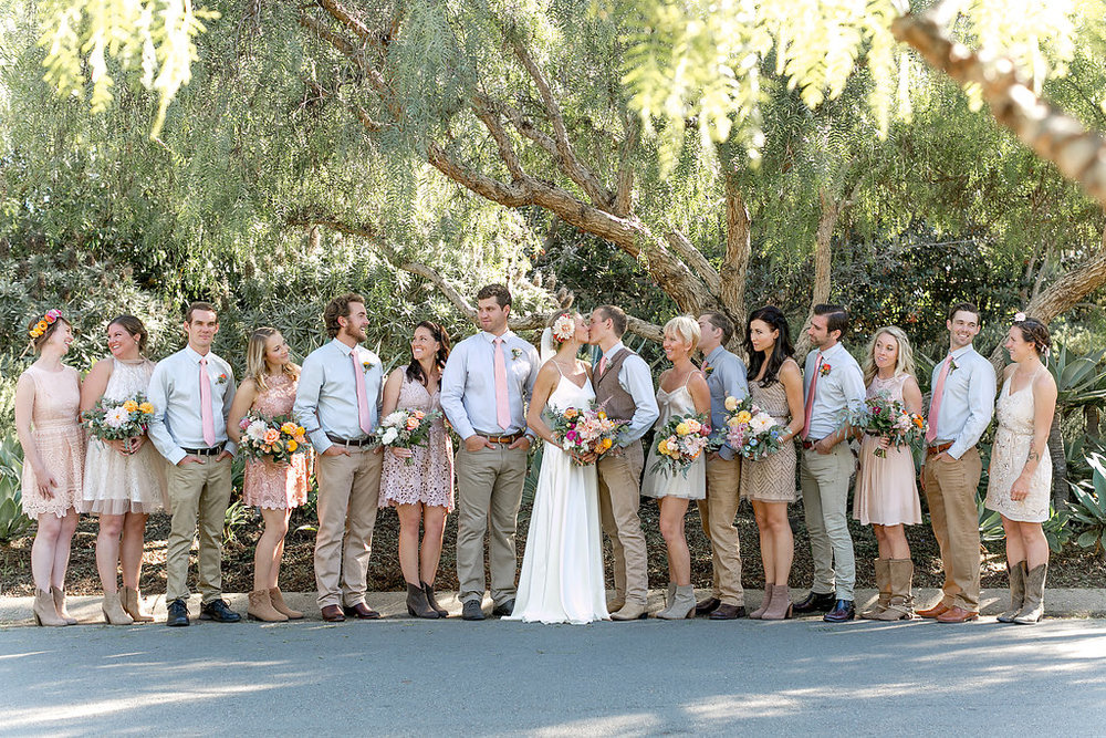Desert bohemian wedding party, flowers by Compass Floral | Estancia Hotel & Spa, La Jolla.