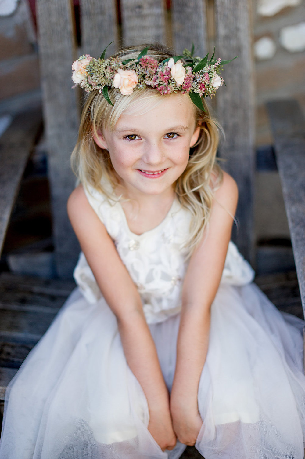 Flower girl crown by Compass Floral | Estancia Hotel & Spa, La Jolla.