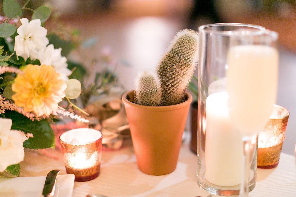 Desert bohemian cactus & floral centerpiece by Compass Floral | Estancia Hotel & Spa, La Jolla.