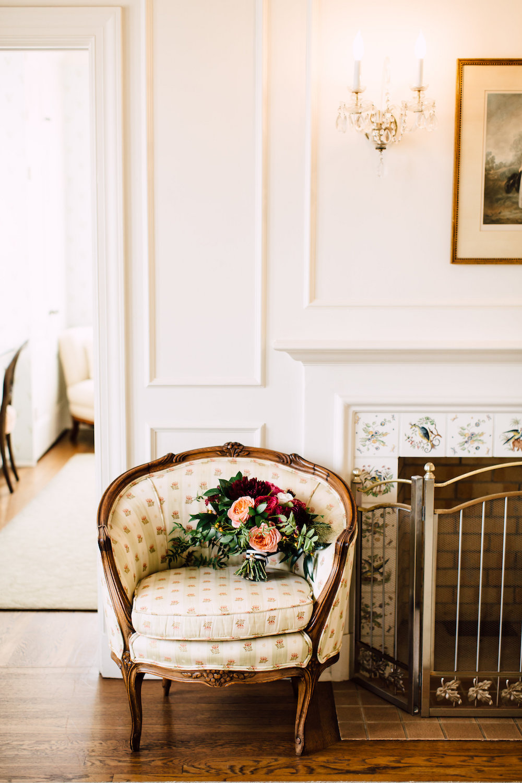 Burgundy, maroon and peach bridal bouquet by Compass Floral | Darlington House, La Jolla.