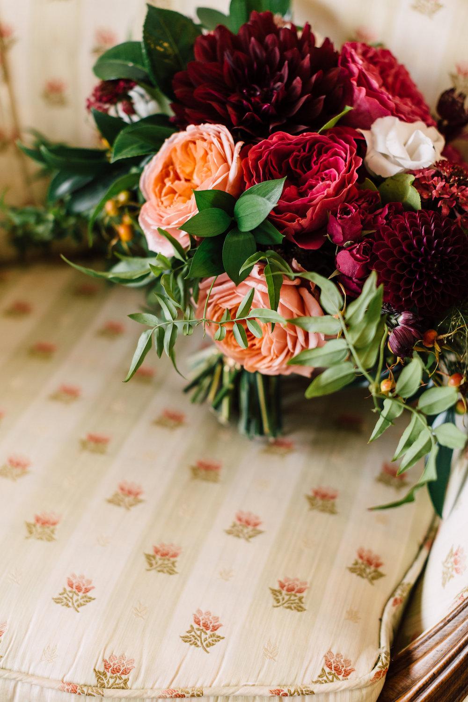 Romantic antike garden rose and dahlia bridal bouquet by Compass Floral | Darlington House, La Jolla.