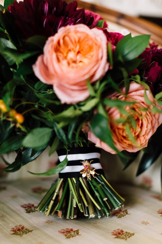 Romantic antike garden rose bridal bouquet by Compass Floral | Darlington House, La Jolla.