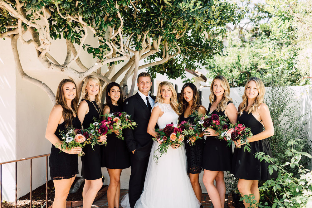 Modern, classic wedding party in black, florals by Compass Floral | Darlington House, La Jolla.