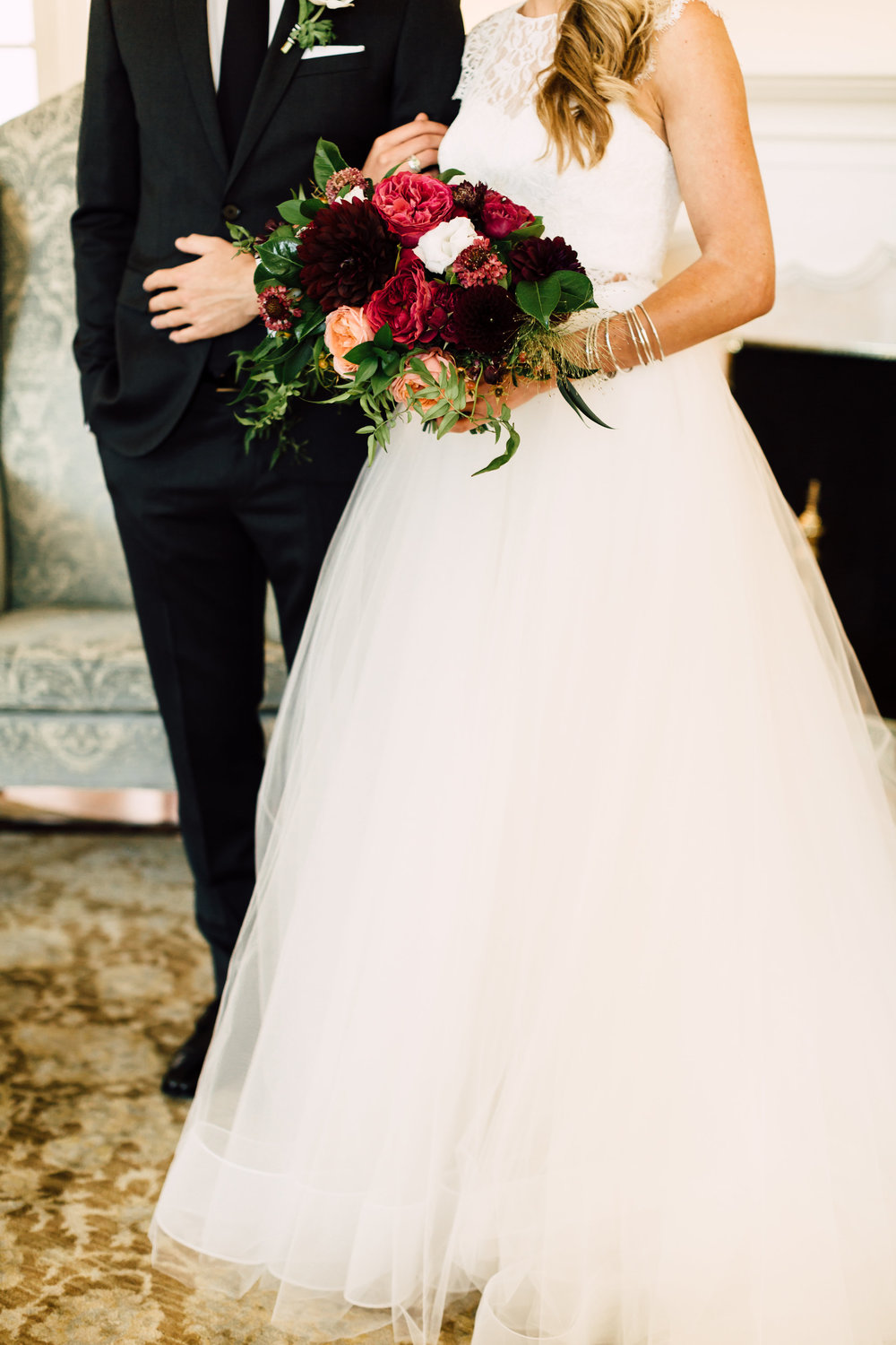 Moody, burgundy, maroon and peach bridal bouquet by Compass Floral | Darlington House, La Jolla.
