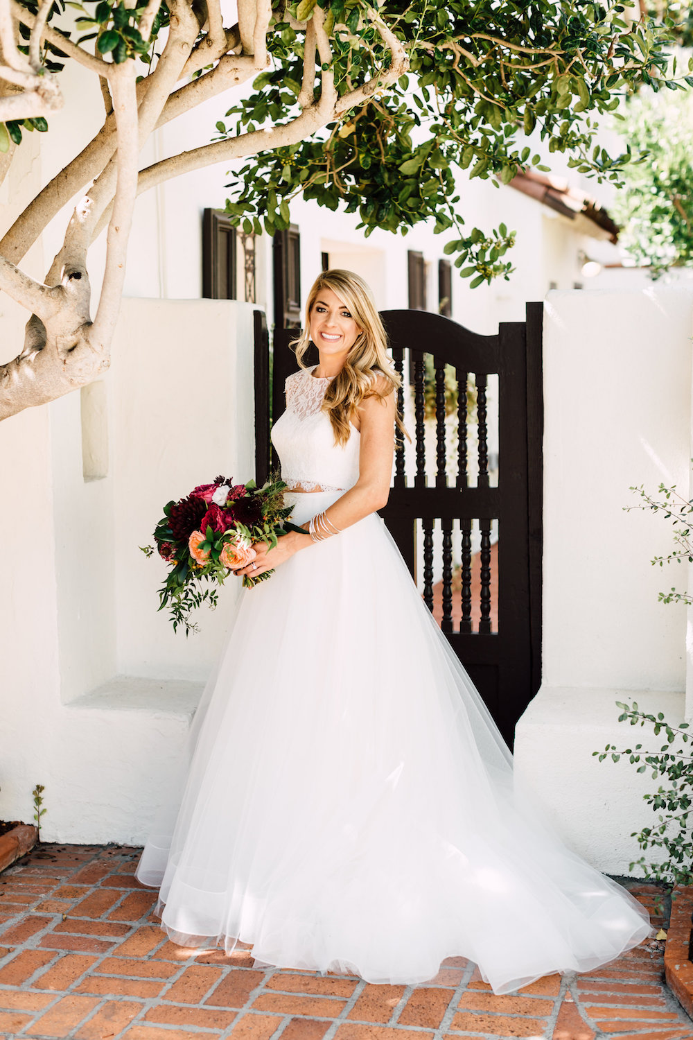 Two piece wedding dress Blush by Hayley Paige and moody bridal bouquet by Compass Floral | Darlington House, La Jolla.
