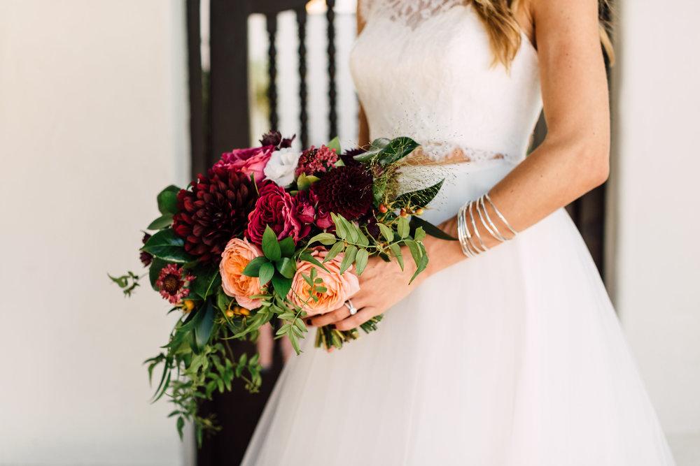 Romantic antike garden rose & dahlia bridal bouquet by Compass Floral | Darlington House, La Jolla.