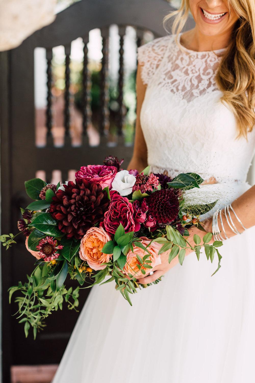 Garden rose and dahlia bridal bouquet by Compass Floral | Darlington House, La Jolla.