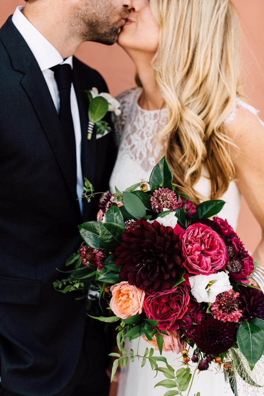 Garden rose and dahlia moody bridal bouquet by Compass Floral | Darlington House, La Jolla.