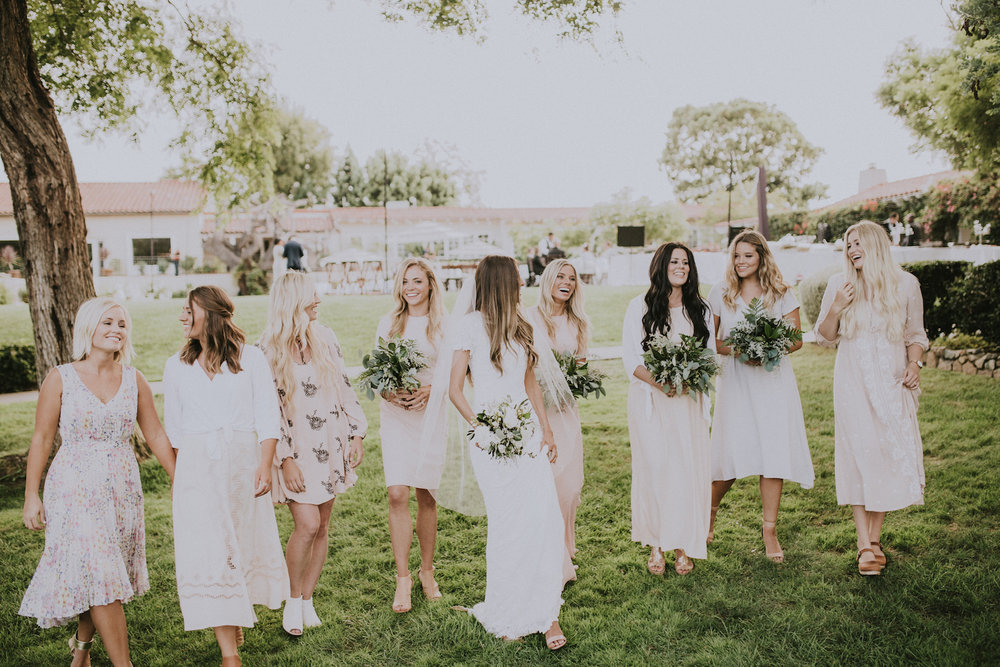 Soft green and white bridal party  by Compass Floral | San Diego California Temple.