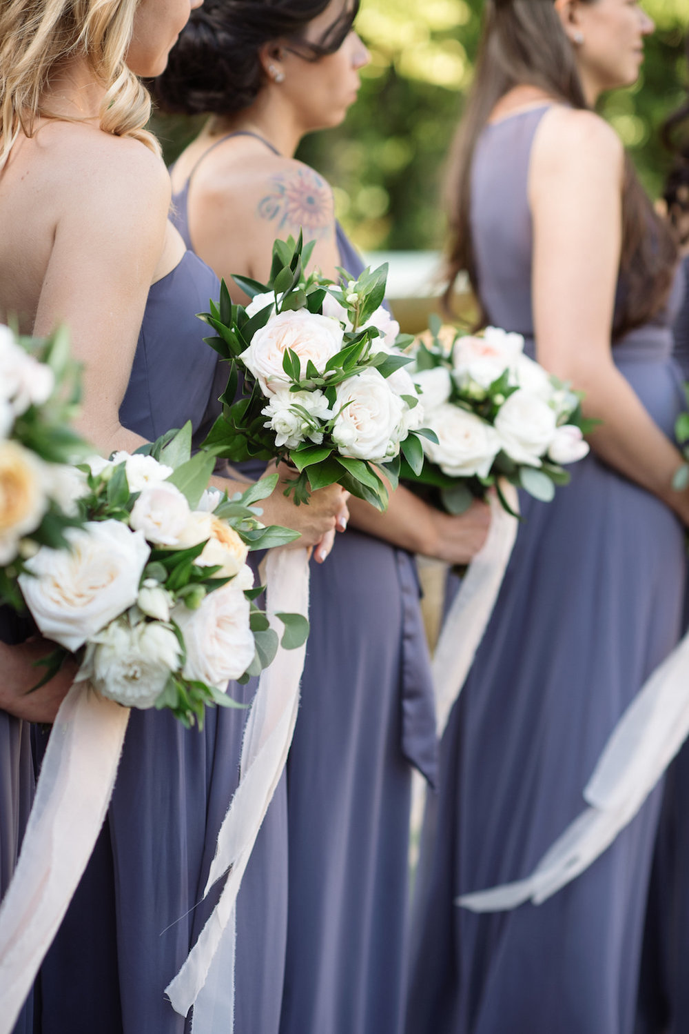 White, blush & green bridesmaid bouquets by Compass Floral | Estancia Hotel & Spa, La Jolla