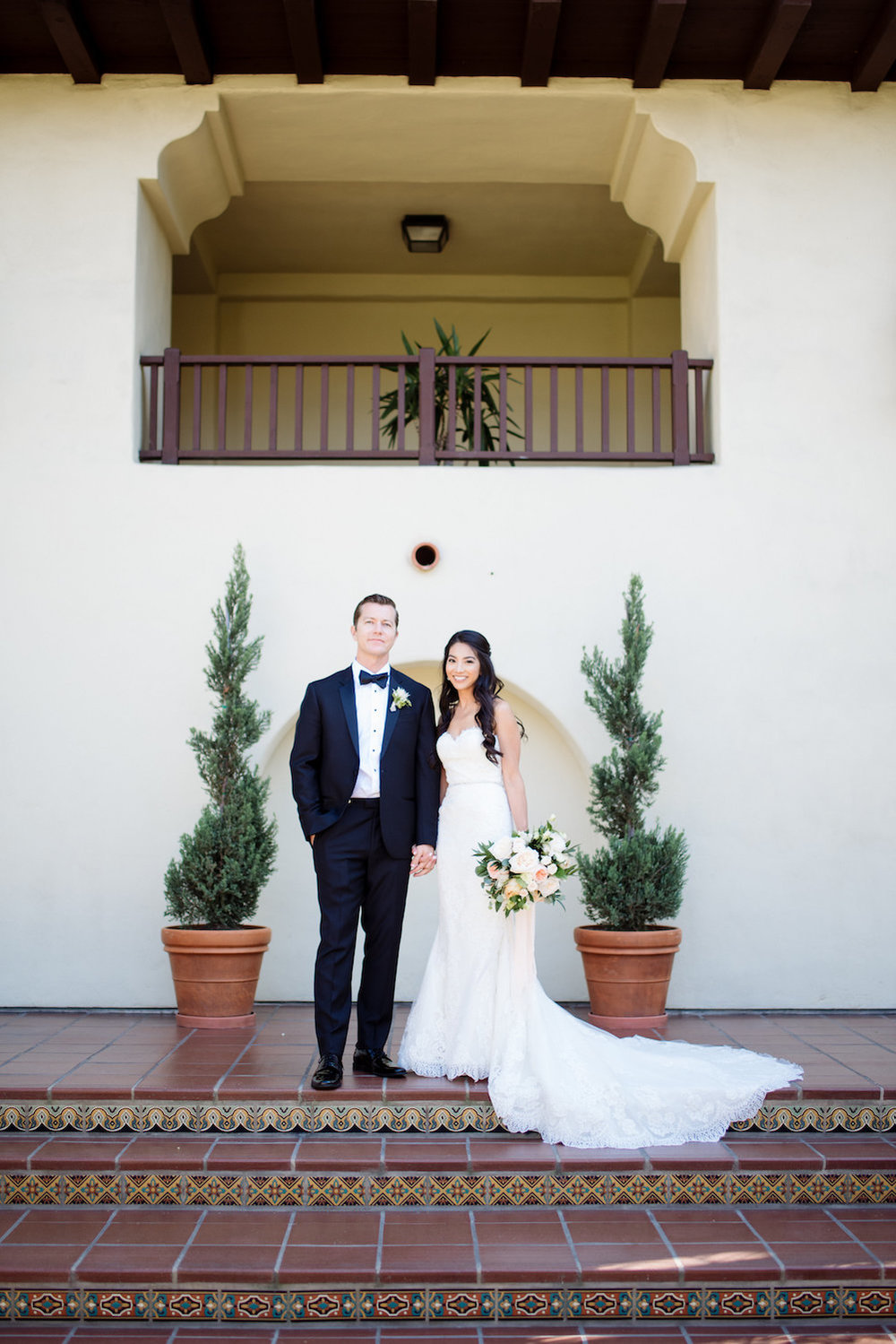White, blush & green garden wedding by Compass Floral | Estancia Hotel & Spa, La Jolla.