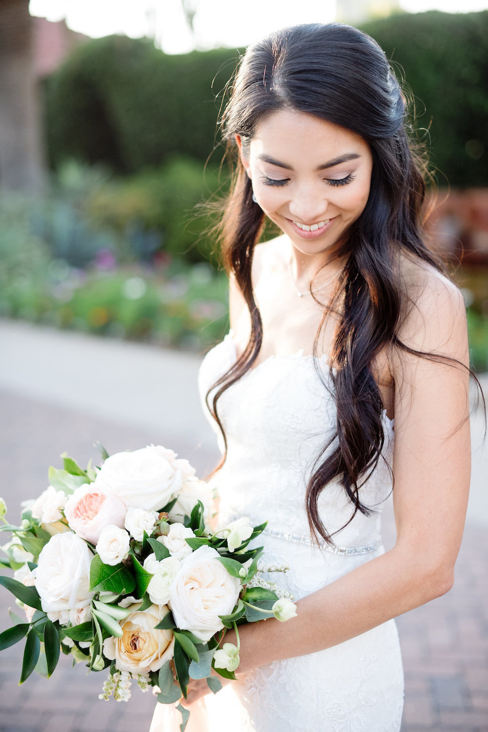 Ivory & blush bridal bouquet by Compass Floral | Estancia Hotel & Spa, La Jolla.
