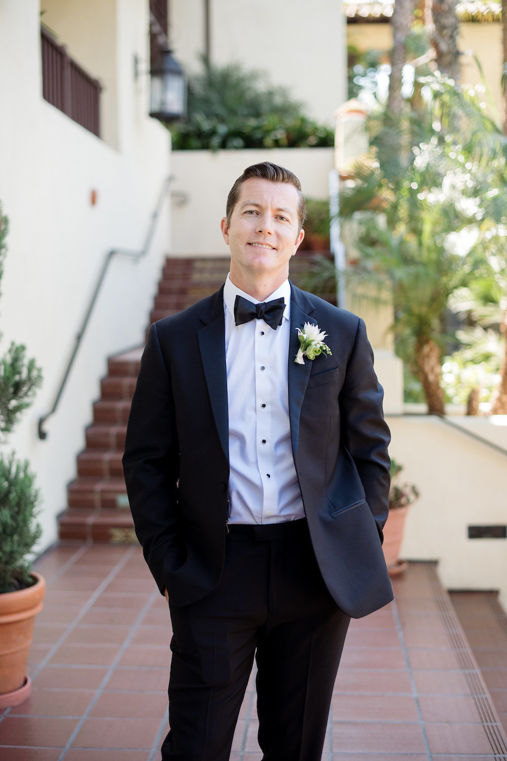 Modern, classic groom. Boutonniere by Compass Floral | Estancia Hotel & Spa, La Jolla.