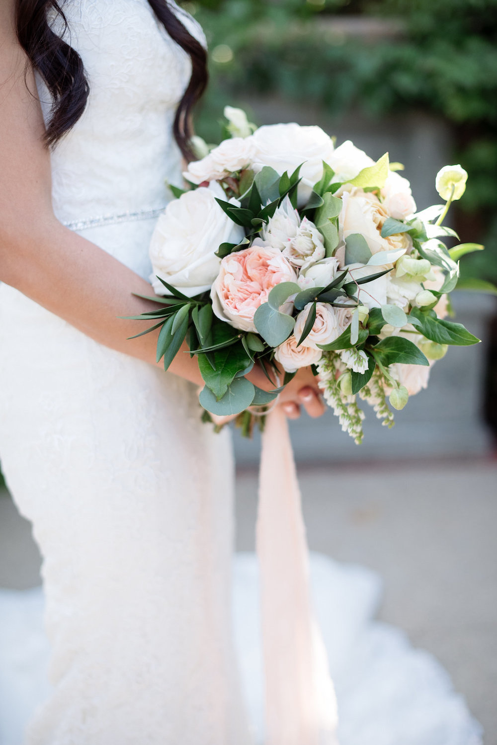 White, blush & green bridal bouquet by Compass Floral | Estancia Hotel & Spa, La Jolla.