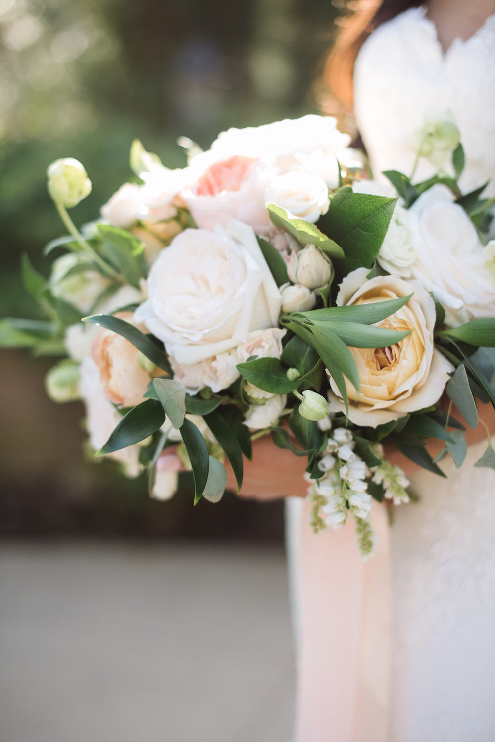 White, blush & peach bridal bouquet by Compass Floral | Estancia Hotel & Spa, La Jolla