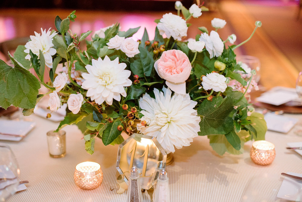 Garden romantic, ivory, blush & peach centerpiece, wedding reception by Compass Floral | Estancia Hotel & Spa, La Jolla.
