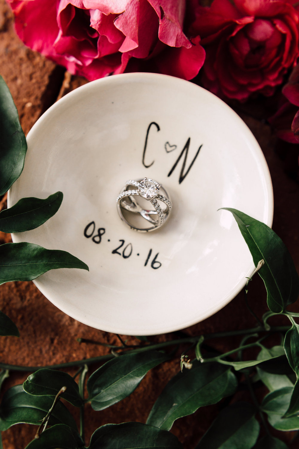 Wedding detail ring dish by Compass Floral. Venue: The Darlington House, La Jolla. Photographer: Plum & Oak