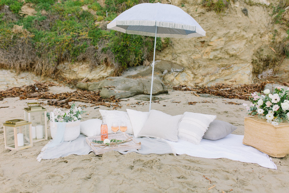 Laguna Beach summer fun beach picnic styled shoot. Bouquet by Compass Floral. Design & Planning // Events by Talissa Photographer // Garrett Richardson