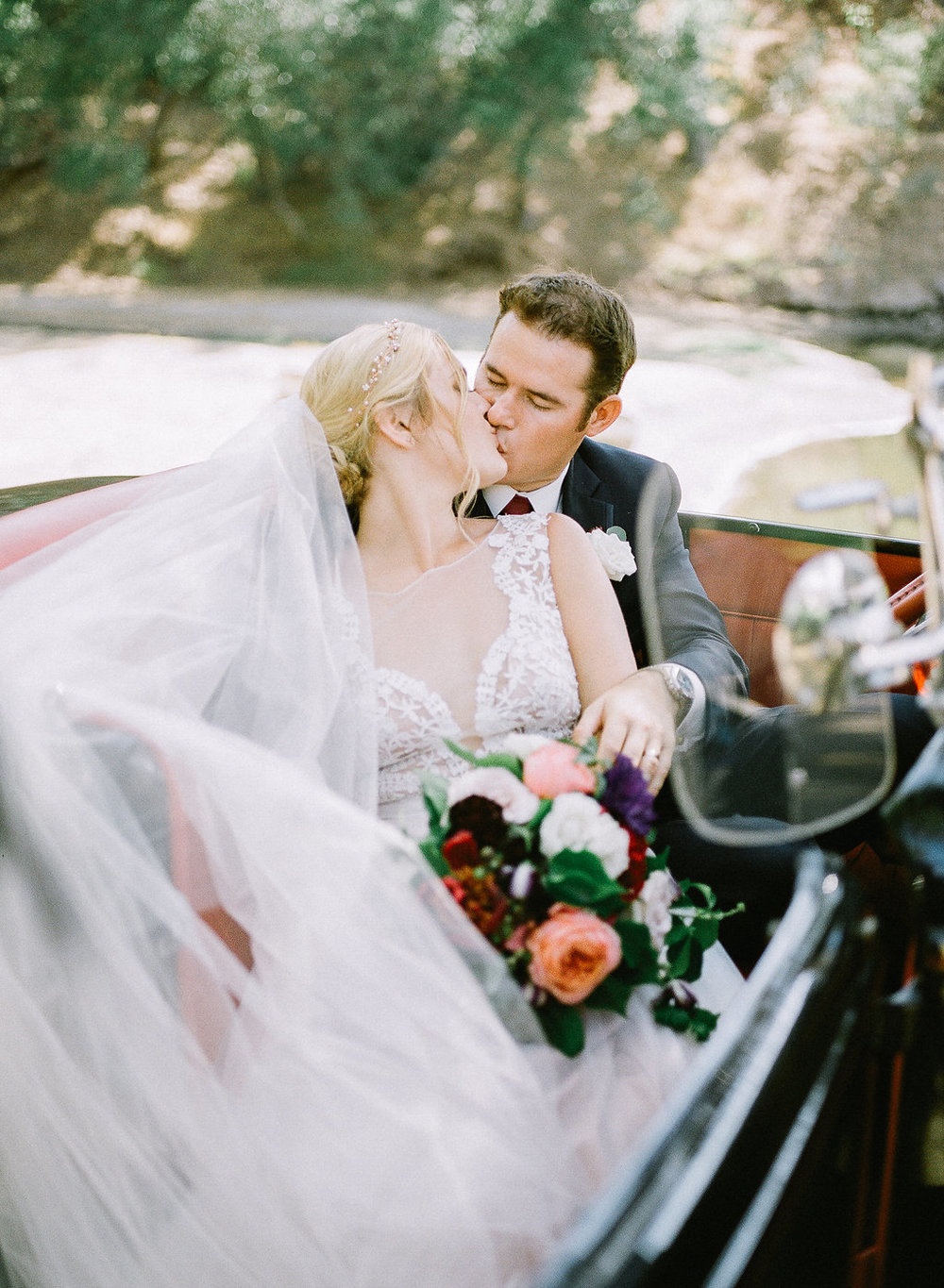 Vintage car, bride and groom portrait | Fallbrook Treehouse | Compass Floral | Wedding Florist in San Diego and Southern California | Allie Lindsey Photography