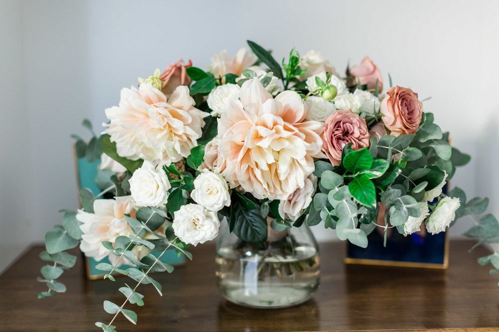 Blush dahlia, white rose and eucalyptus. Fun and creative bouquet | Newport Beach, CA | Compass Floral | Wedding Florist in San Diego and Southern California | Cavin Elizabeth Photography
