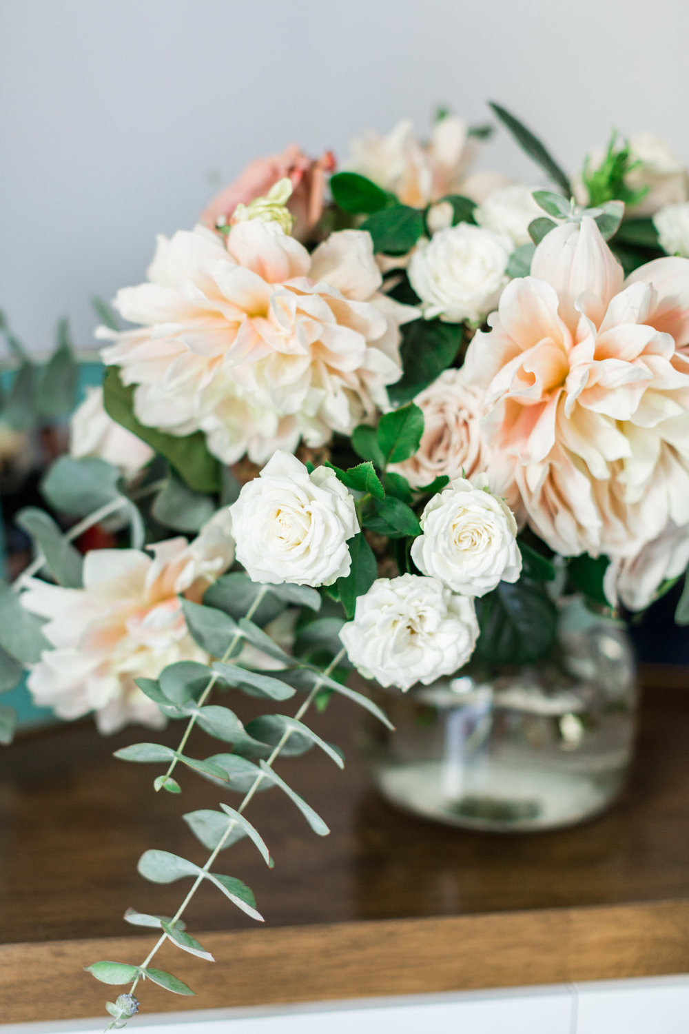 Blush dahlia, white rose and eucalyptus. Classic, romantic bridal bouquet | Newport Beach, CA | Compass Floral | Wedding Florist in San Diego and Southern California | Cavin Elizabeth Photography