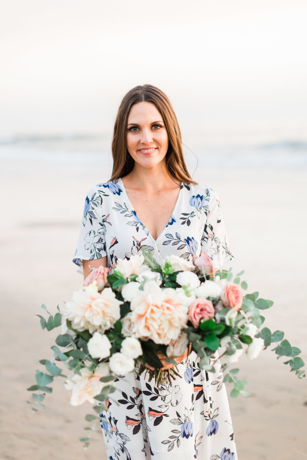 Romantic beach bridal bouquet of dahlias, roses and eucalyptus | Newport Beach, CA | Compass Floral | Wedding Florist in San Diego and Southern California | Cavin Elizabeth Photography