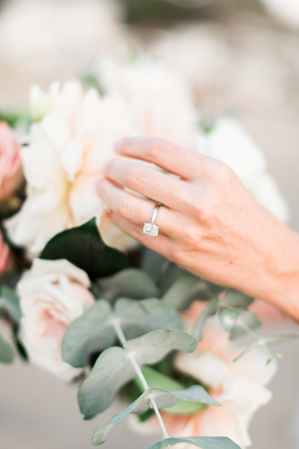 Romantic and elegant engagement ring and flowers | Newport Beach, CA | Compass Floral | Wedding Florist in San Diego and Southern California | Cavin Elizabeth Photography