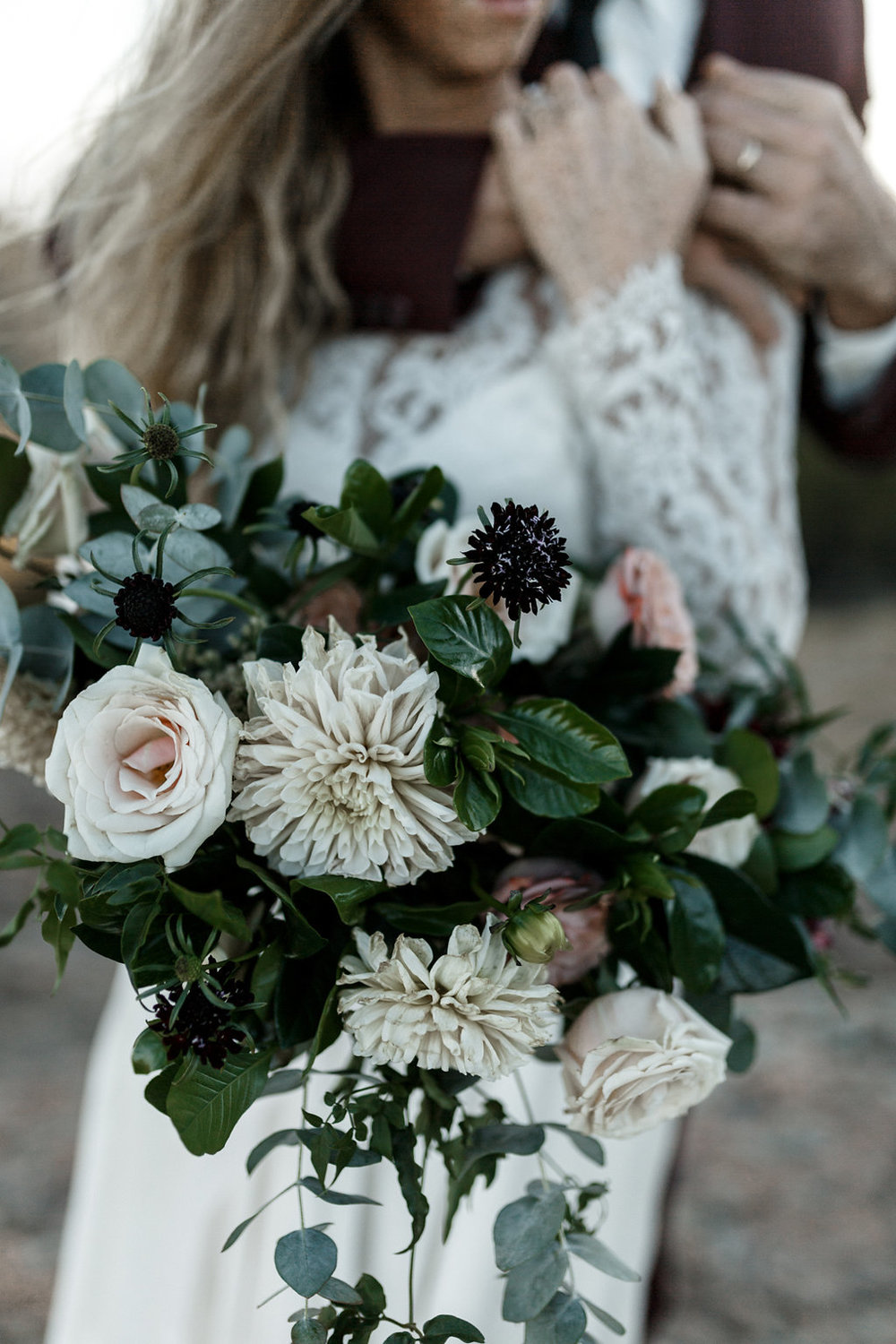 Eucalyptus, dahlia, rose bridal bouquet | Malibu Mountains Weddings | Compass Floral Design | Wedding Florist in San Diego and Southern California | Devin Jenkins Photography  #elopement   #elopementinspiration   #wedding   #weddinginspiration  #bohowedding   #bohemianwedding  #weddingceremony   #outdoorceremony  #sandiegoweddingflorist   #ojaiweddingflorist   #santabarbaraweddingflorist  #romanticweddingflowers   #bridalstyle  #weddingfashion