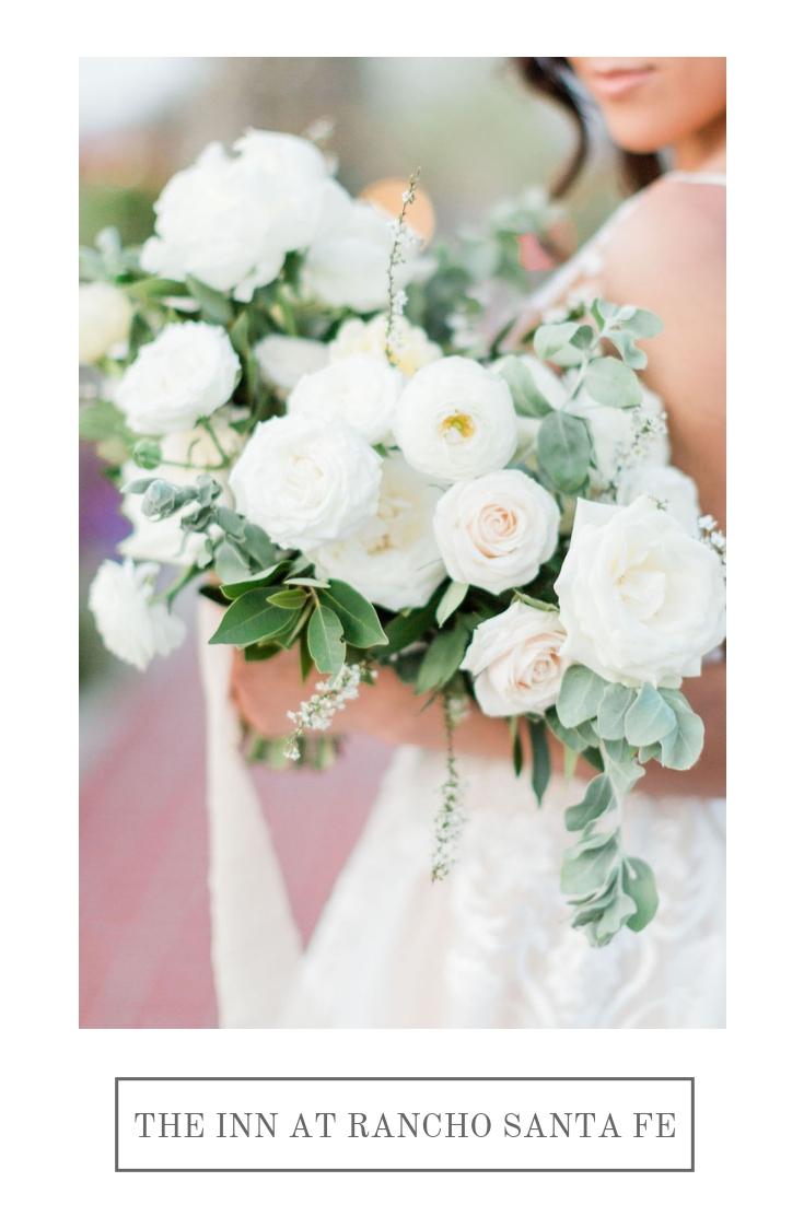 Elegant white, blush and buttercream outdoor wedding | Rancho Santa Fe Inn | Compass Floral | Wedding Florist in San Diego and Southern California | Devon Donnahoo Photography