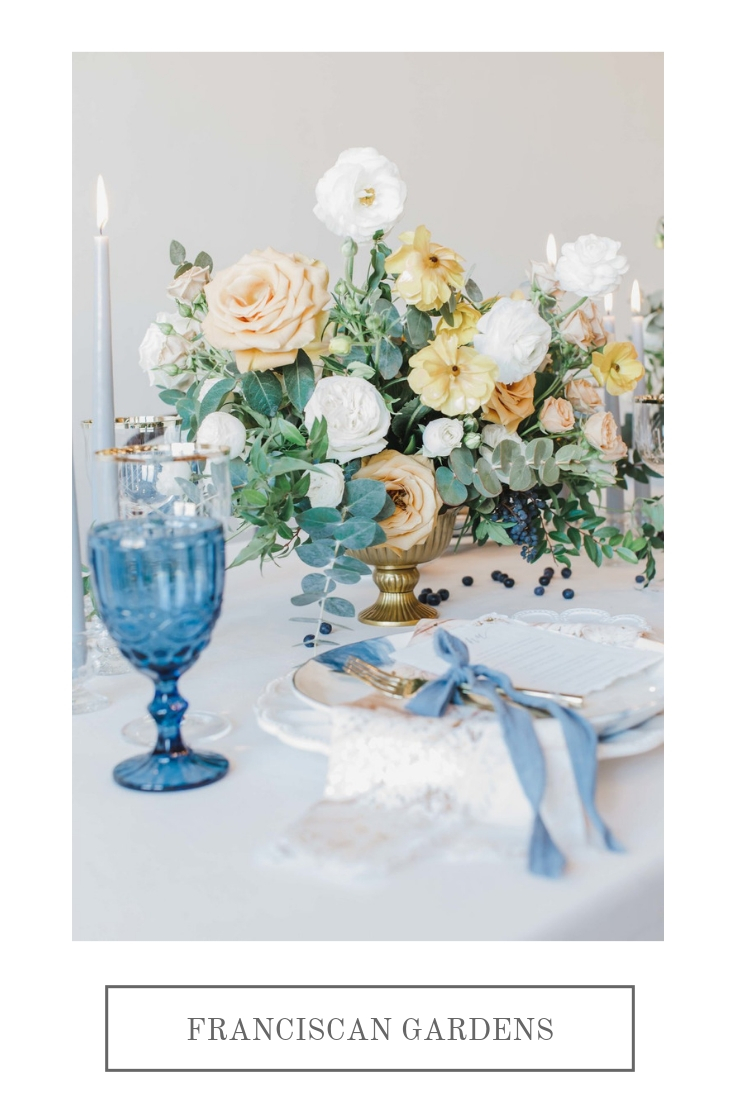 Old World, gold and blue wedding | Franciscan Gardens | Compass Floral | Wedding Florist in San Diego and Southern California | Jessica Jaccarino Photography