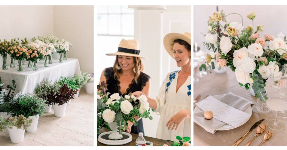Modern, garden romantic flower centerpiece workshop at Compass Floral Studio | Encinitas, CA | Compass Floral | Wedding Florist in San Diego and Southern California | Pura Soul Photography