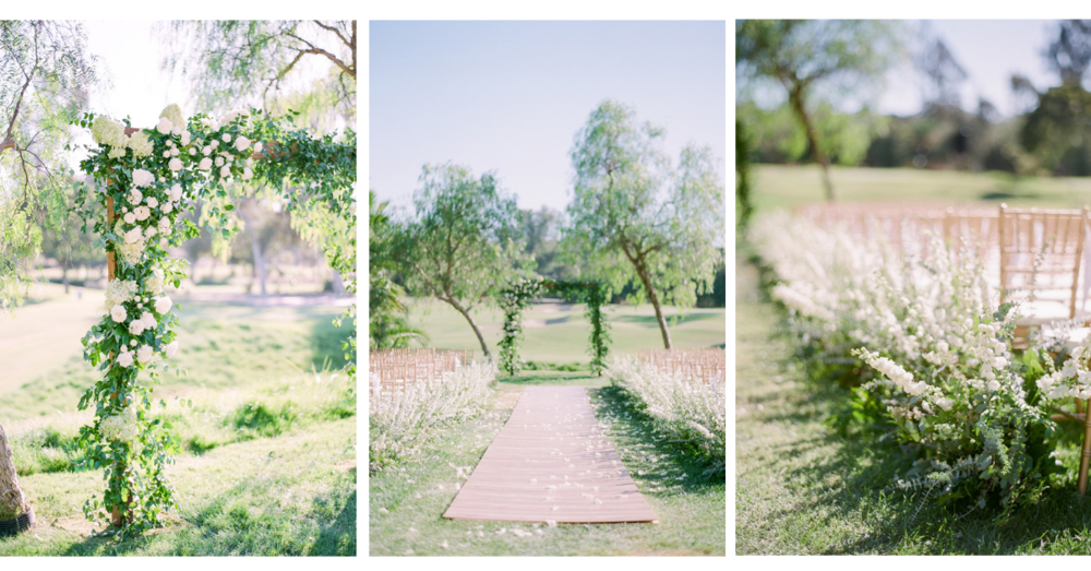 Garden romantic wedding ceremony, floral lined aisle and smilax covered arch | Rancho Santa Fe Golf Club | Compass Floral | Wedding Florist in San Diego and Southern California | Rachael McCall Photography