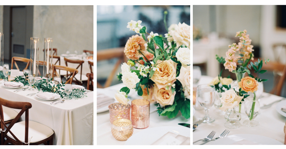 Anthropologie inspired blush and peach wedding with lush flowers, simple bud vases and tall taper candles | The New Childrens Museum | Compass Floral | Wedding Florist in San Diego and Southern California | Mei Wens Photography