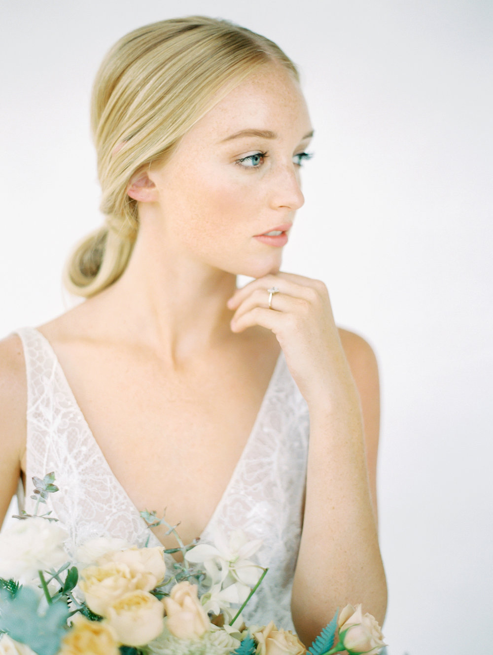 Natural bridal makeup and low bun | Studio 710 | Compass Floral | Wedding Florist in San Diego and Southern California | Dear Lovers Photography