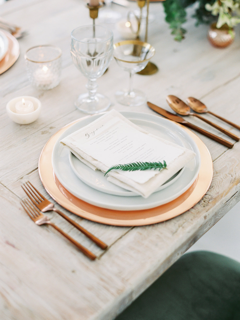 Green, copper and white romantic wedding inspiration | Studio 710 | Compass Floral | Wedding Florist in San Diego and Southern California | Dear Lovers Photography