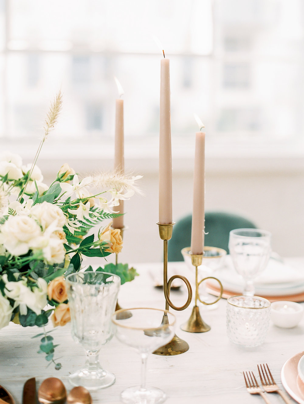 Blush taper candles for romantic wedding | Studio 710 | Compass Floral | Wedding Florist in San Diego and Southern California | Dear Lovers Photography