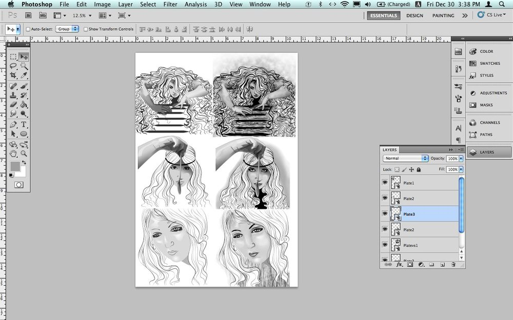 The start of the sketch remodeling in Photoshop. Pictured, Rapunzel (wild), Rapunzel (manners) and Cinderella (haughty).