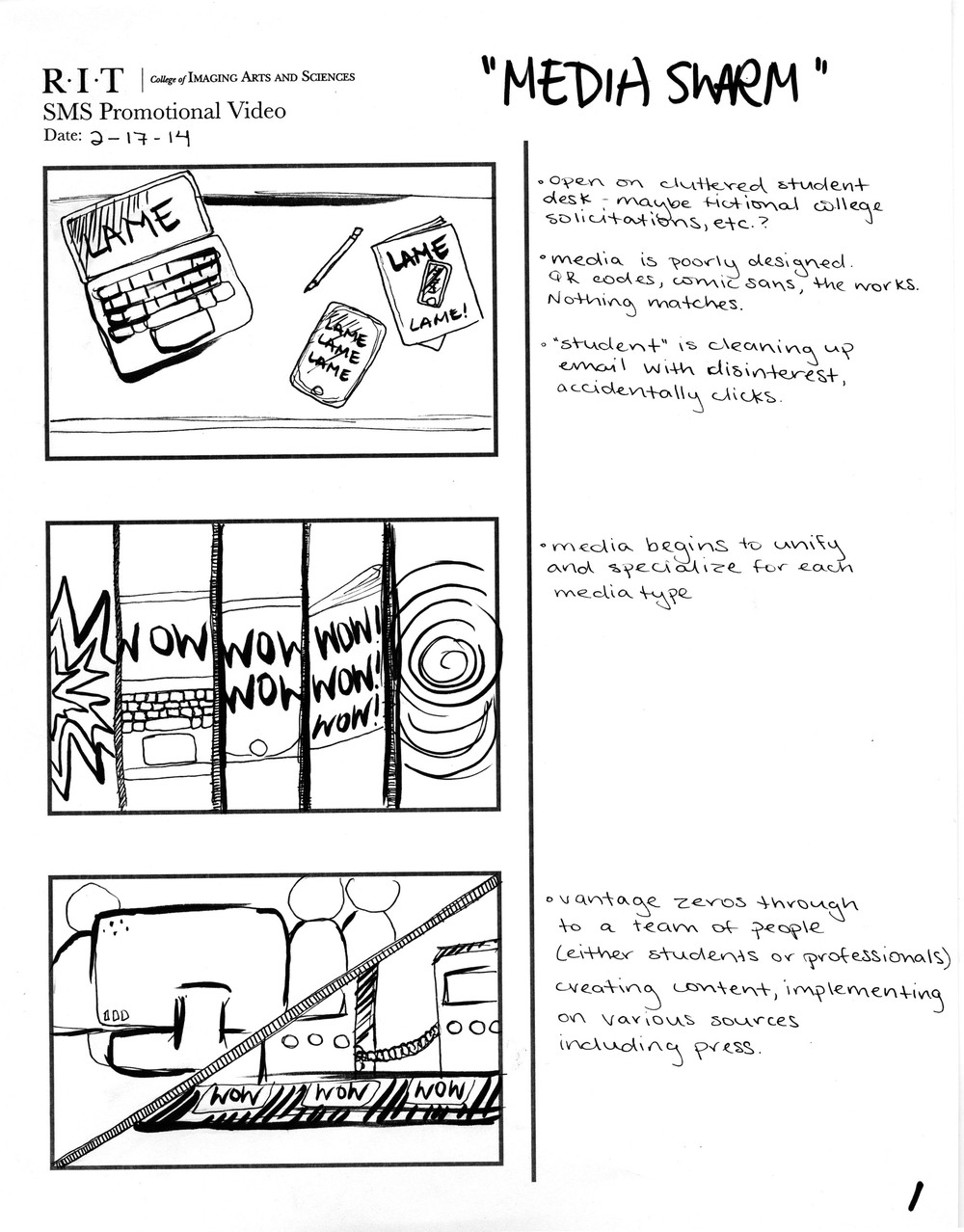 Alternate storyboard concept, based on original department pitch.