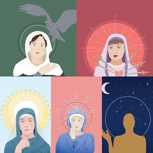 Coming in hot from a great critique night at @mantle_artspace - It's so hard to talk through work sometimes but I really feel like I'm settling into this series a little more every time.  #iconoclast #iconography #headcanon #portrait #vector #adobeillustrator #wacom #iconography #religiousart #meditation #spirituality #digitalart