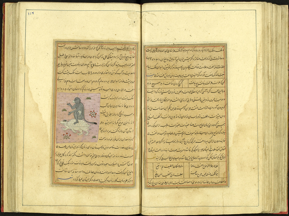 Illustrated manuscript of 'Kalila and Dimna' Central Asia or India, 1412 CE (815 AH) Ink and colour on paper Courtesy of Cadbury Research Library: Special Collections, University of Birmingham (Persian 10) ©Cadbury Research Library