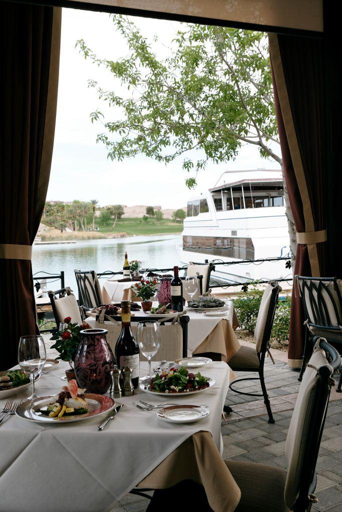 Lakeside Patio view of La Contessa yacht