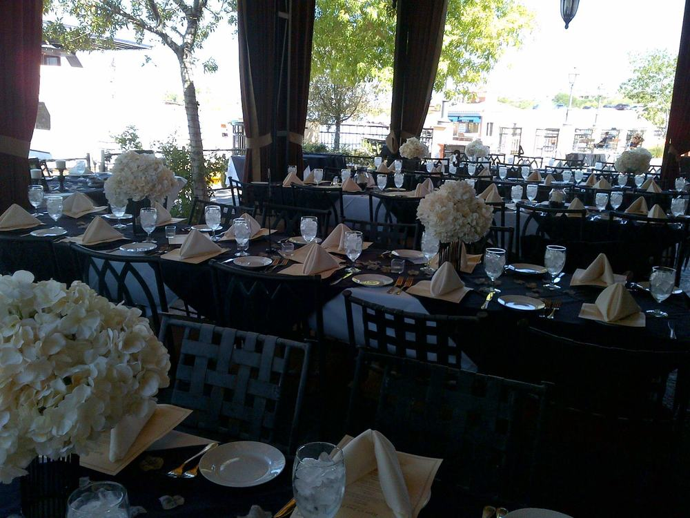 Lakeside Patio...wedding reception dinner set up