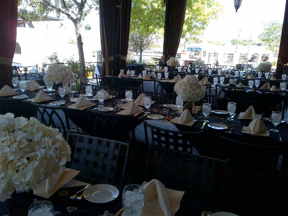 Lakeside Patio...wedding reception dinner set up
