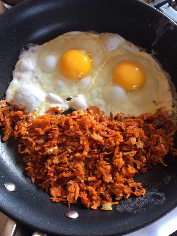 Food Challenge Day 8: Fried eggs and sweet potato hash.