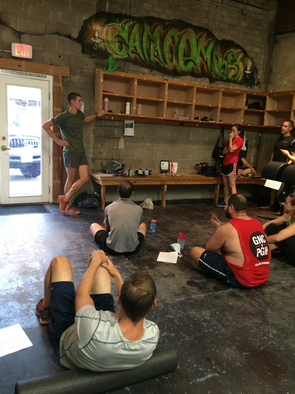Scott giving the catacombs endurance team the post workout lowdown on nutrition/fueling for racing and performance.