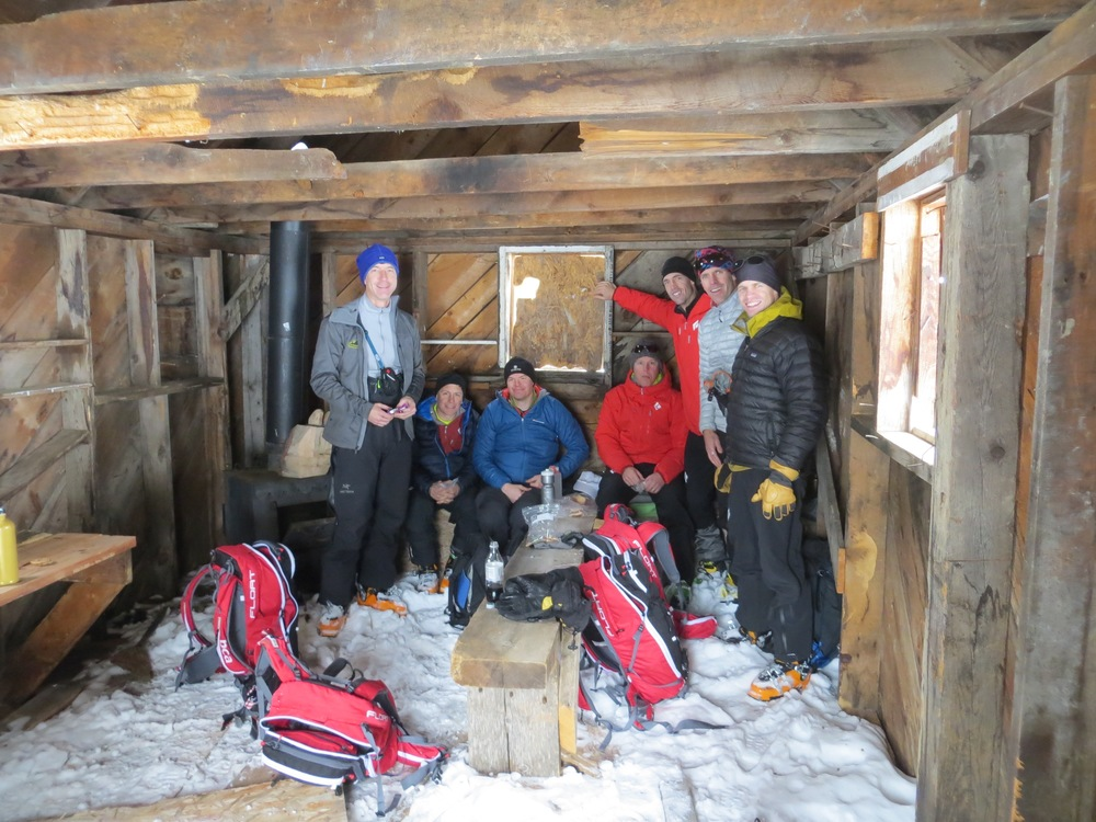 Friends that ski together, have an awesome time! Escaping the elements and having lunch at the Bear Ski Cabin