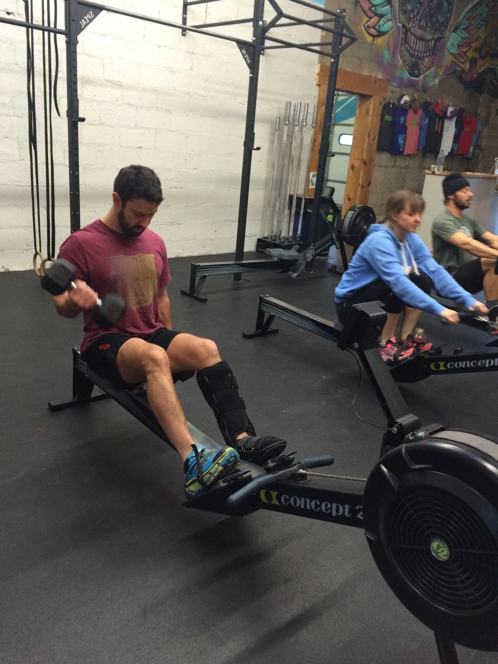 Beto is back in the gym one month after surgery to repair his shattered tibia and fibula. What's your excuse?